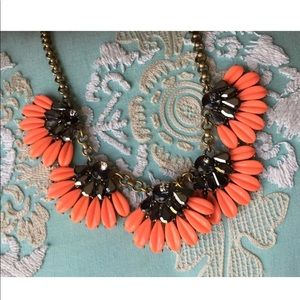 J.Crew statement necklace resin flower crystal